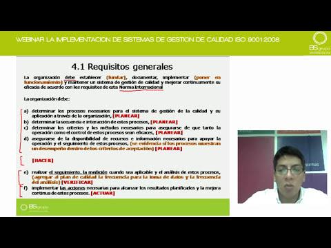 WEBINAR LA IMPLEMENTACION DE SISTEMAS DE GESTION DE CALIDAD ISO 9001 2008