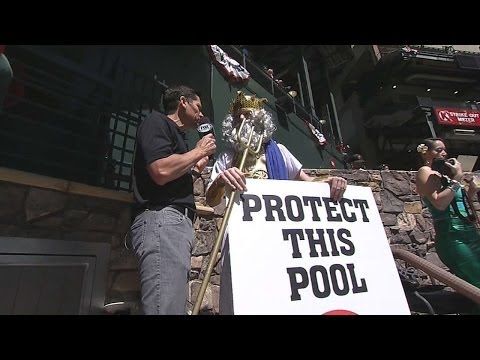 Poseidon and friends protect the pool at Chase FIeld