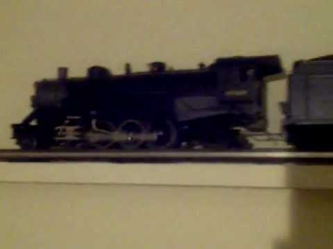 Lionel B&O 2-8-2 Mikado passenger train on the o gauge ceiling layout