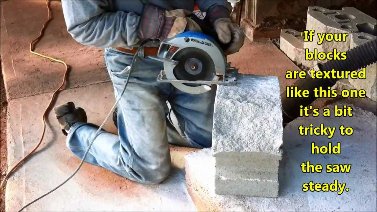 Chainsaw Cut In A Wall : Cutting retaining wall block youtube