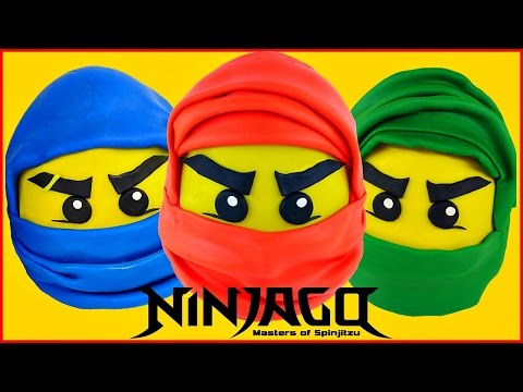 NINJAGO GIANT Play Doh Surprise Eggs Masters Of Spinjitzu  LEGO Surprise Toy Opening Videos