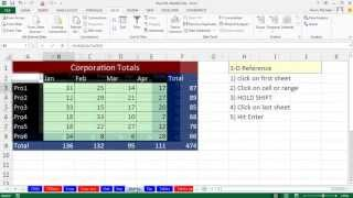 Highline Excel 2013 Class Video 07: Worksheet & Workbook References, 3-D Cell References
