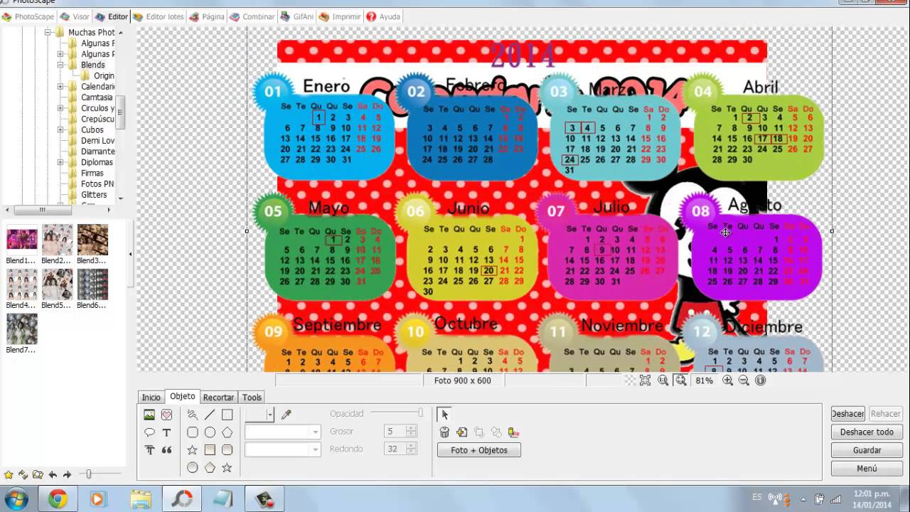 Como hacer un calendario 2014 en photoscape youtube - Ideas para hacer un calendario ...