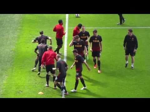 Manchester United players warming up for West Bromwich Albion game