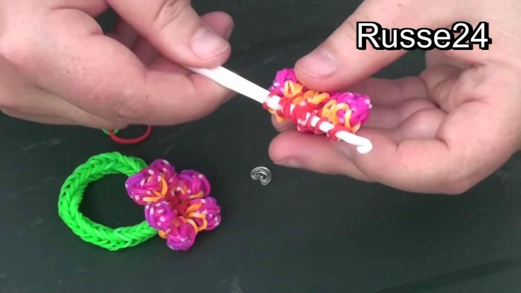 Как сделать браслет из резиночек с цветочками7