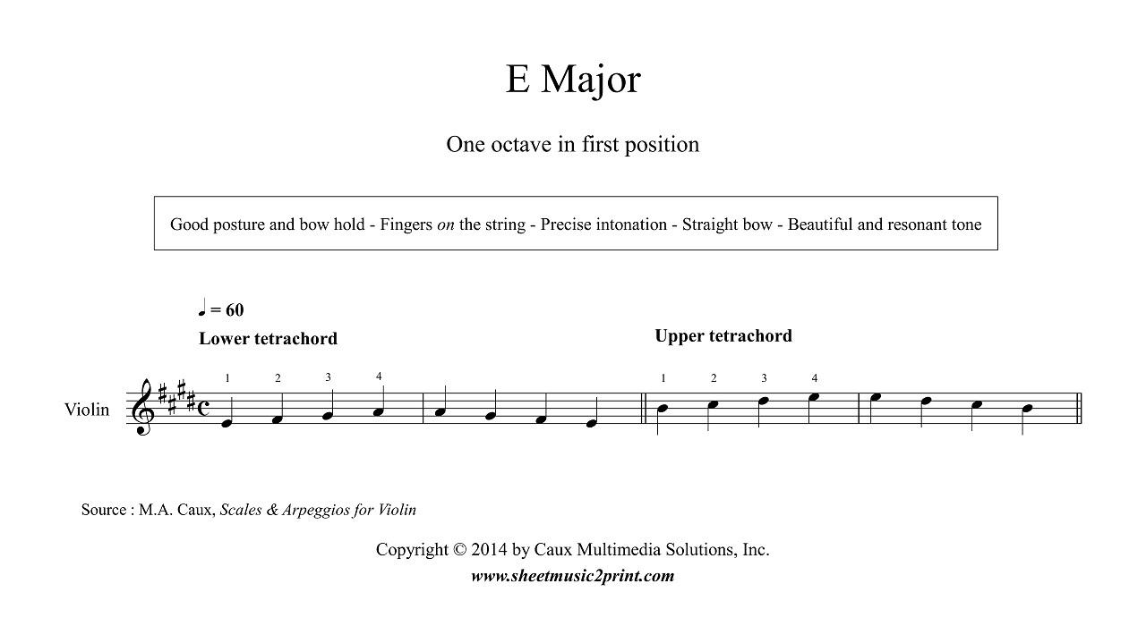 b Flat Major Scale Violin Violin e Major Scale