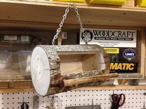 How To Make A Log Bird Feeder Youtube