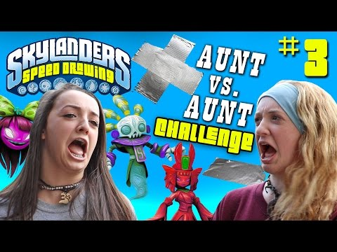 Skylanders Speed Drawing Challenge Part 3: COME ON OVER! Aunt vs. Aunt Draw Battle w/ haha laughs