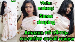 Vishu makeup look and hairstyle|Amazon saree review|How to drape saree with perfect pleats|Asvi
