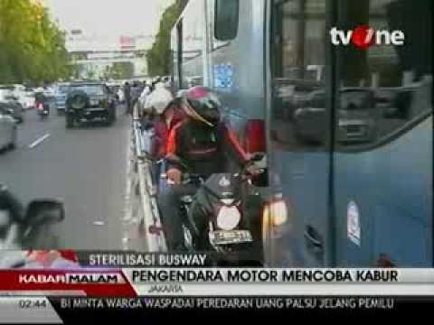 Ketangkap Razia Jalur Busway Bus TransJakarta