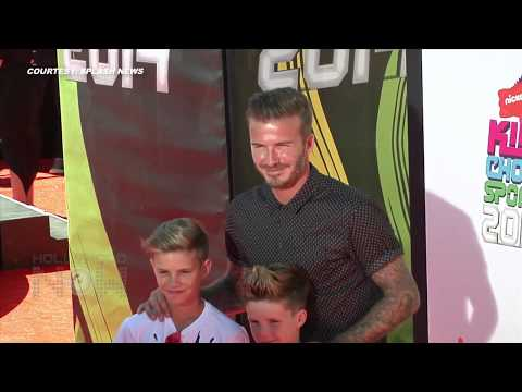 VIDEO David Beckham With Sons At Nickelodeon Kids Choice Sports Awards 2014