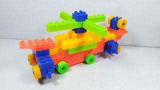 Đồ chơi lắp ráp 67 khối - xếp hình máy bay trực thăng có bánh xe - helicopter block toy