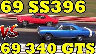 Camaro SS396 / 375 (L78) vs 340 Dodge Dart GTS- 1/4 Mile Drag Race Video - Road Test TV ®