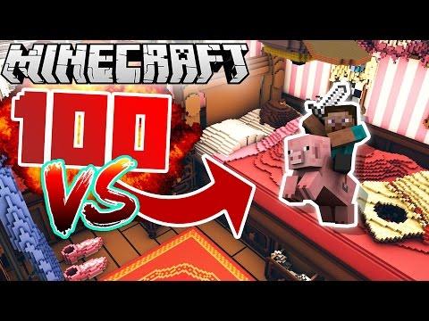 2 vs 100 ULTIMATE WAR IN MINECRAFT! (Giant Bedroom!)