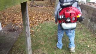 Redmax 8500 Back Pack Blower Blowing Leaves