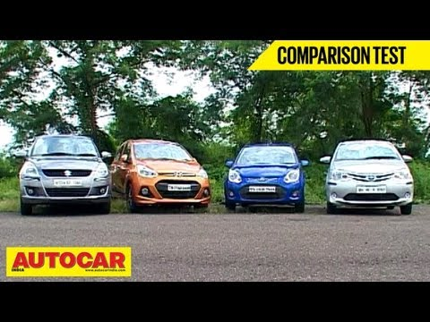 Hyundai Grand i10 Vs Toyota Liva Vs Maruti Swift Vs Ford Figo | Comparison Test | Autocar India