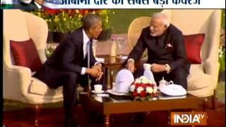 Modi, Obama hold walk the talk, chai pe charcha at Hyderabad House