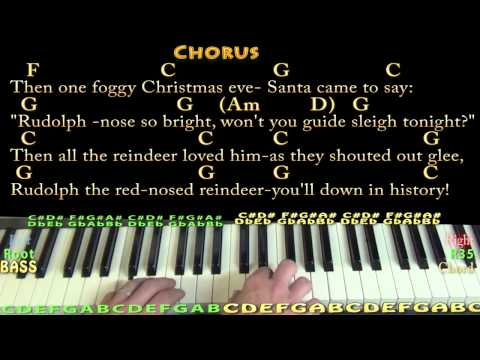 Rudolph the Red-Nosed Reindeer - Piano Cover Lesson in C with Chords/Lyrics