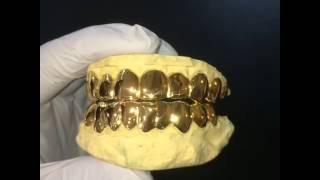 14k Solid Gold Miami fl  style deep Cut perm Grill 20 top and bottom