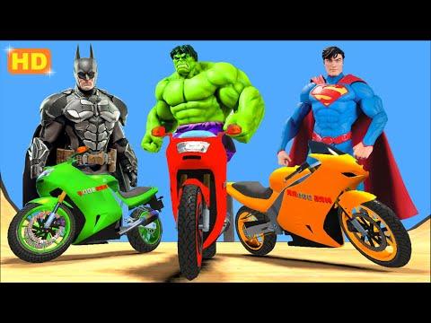BATMAN SUPERMAN SPIDERMAN & HULK COLORS Fun Superhero Movie EPIC MOTORBIKE PARTY + Nursery Rhymes