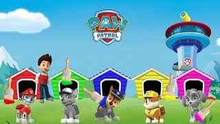 Learn Colors with PAW PATROL for Kids | Colorful DOG HOUSE for Marshall Rocky Chase Rubble Skye