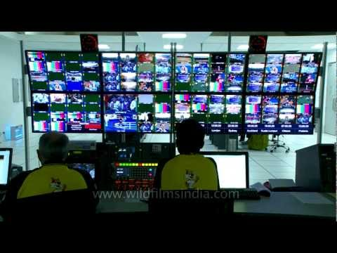 Live sports action on multiple screens of Broadcast Centre