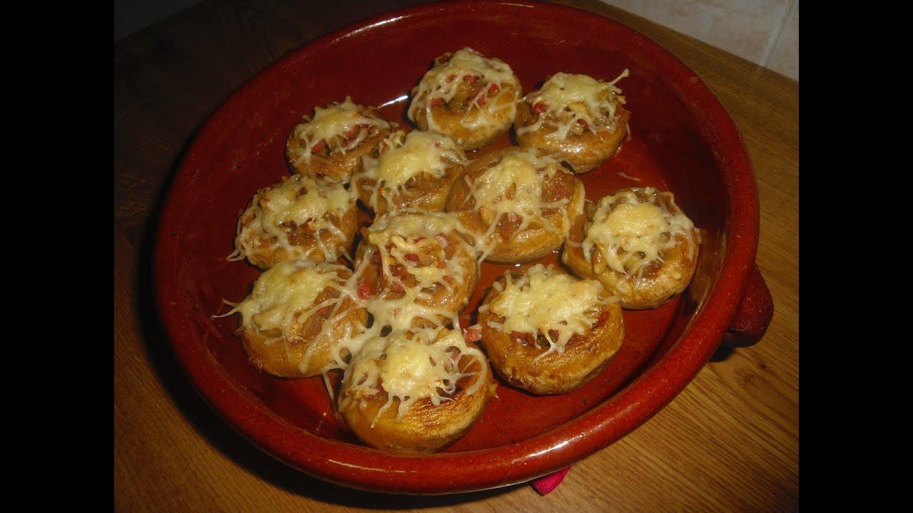 Champi ones rellenos de jamon serrano tucocinaencasa for Canape de pate con cebolla caramelizada