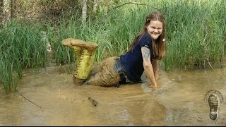 "Muddy ""fishing"" in Viking rubber boots"