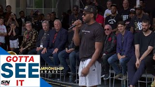 GOTTA SEE IT: Kawhi Leonard Does Signature Laugh During Speech At Raptors Parade!
