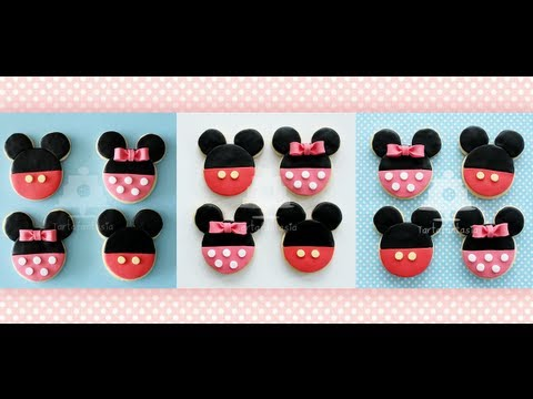 Como decorar galletas de Mickey y Minnie Mouse
