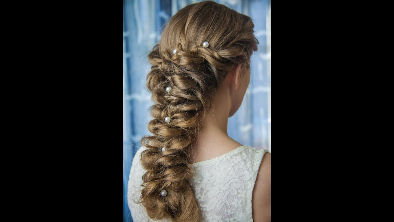 Ажурная коса на коротких волосах