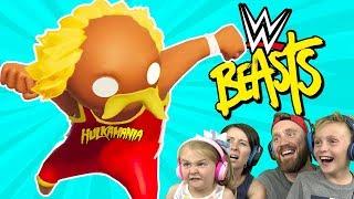Wrestlers in Gang Beasts ONLINE Family Battle 2! | KIDCITY GAMING