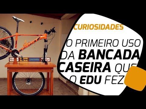 Usando a bancada de bike feita em casa pela primeira vez Pedaleria