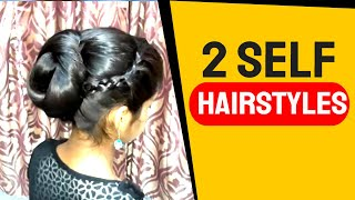 2 Self Hairstyles for girl's. Braids & Bun Self Hairstyles at Home.