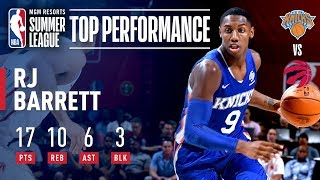 RJ Barrett Records 17 Pts, 10 Rebs, 6 Assts & 3 Blks VS Toronto | July 9, 2019