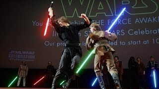 Lightsaber duel on Star Wars Celebration 2015 broadcast in Moscow