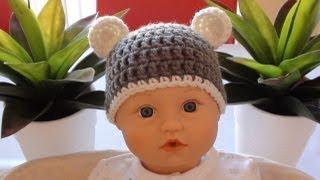 Download Crochet Baby Beanie with Ears - Crochet Bear Ears 3Gp Mp4