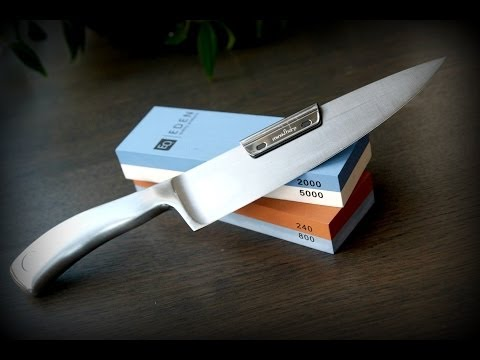 How To SHARPEN a KNIFE - Sharpening your knives using wet stones - knife sharpening instructions-