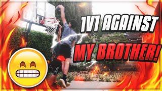 INSANE BASKETBALL 1V1 AGAINST BROTHER!! HE GOT DUNKED ON!!