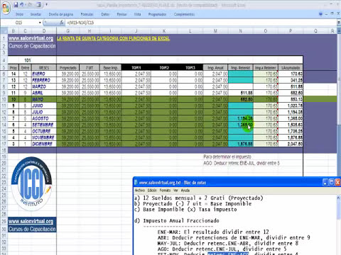 Impuesto Renta de Quinta Categoría con Funciones de Excel