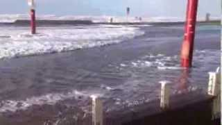 Blackpool Promenade / Seafront flooded under 2 foot of water, and hit by waves. Storm Dec 2013