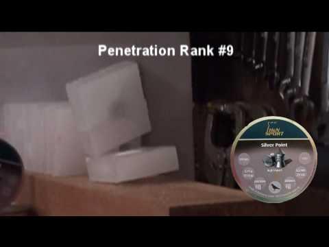 penetration test - wax blocks with .22 caliber pellets