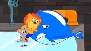 Lion Family Rat's Lair Whale in the Sewer Cartoon for Kids