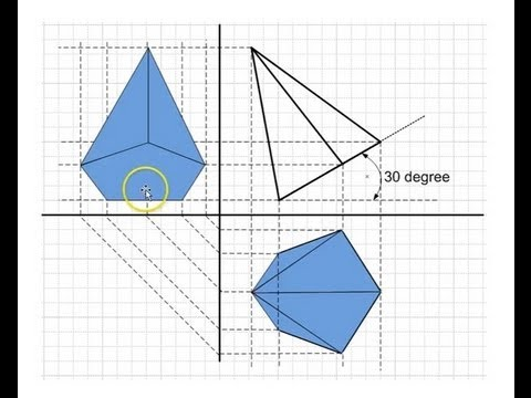 Projections of solids - Pentagon Pyramid - YouTube