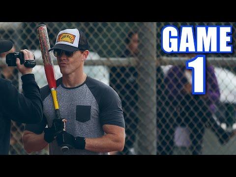 ONE-HANDED HOME RUN! | Offseason Softball League | Game 1