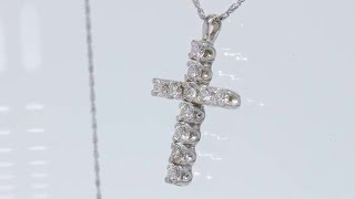 1CT Round Brilliant Diamond Cross 14kt White Gold w/20