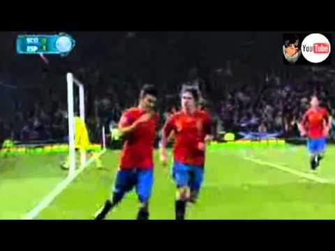 Gol David Villa - Escocia 1-2 España - Gol 44 Raúl - Clasificacion Eurocopa 2012