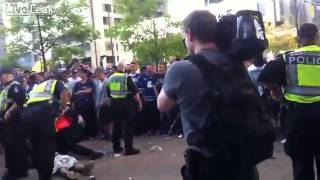 Vancouver Rioters getting Arrested while one lay Unconscious