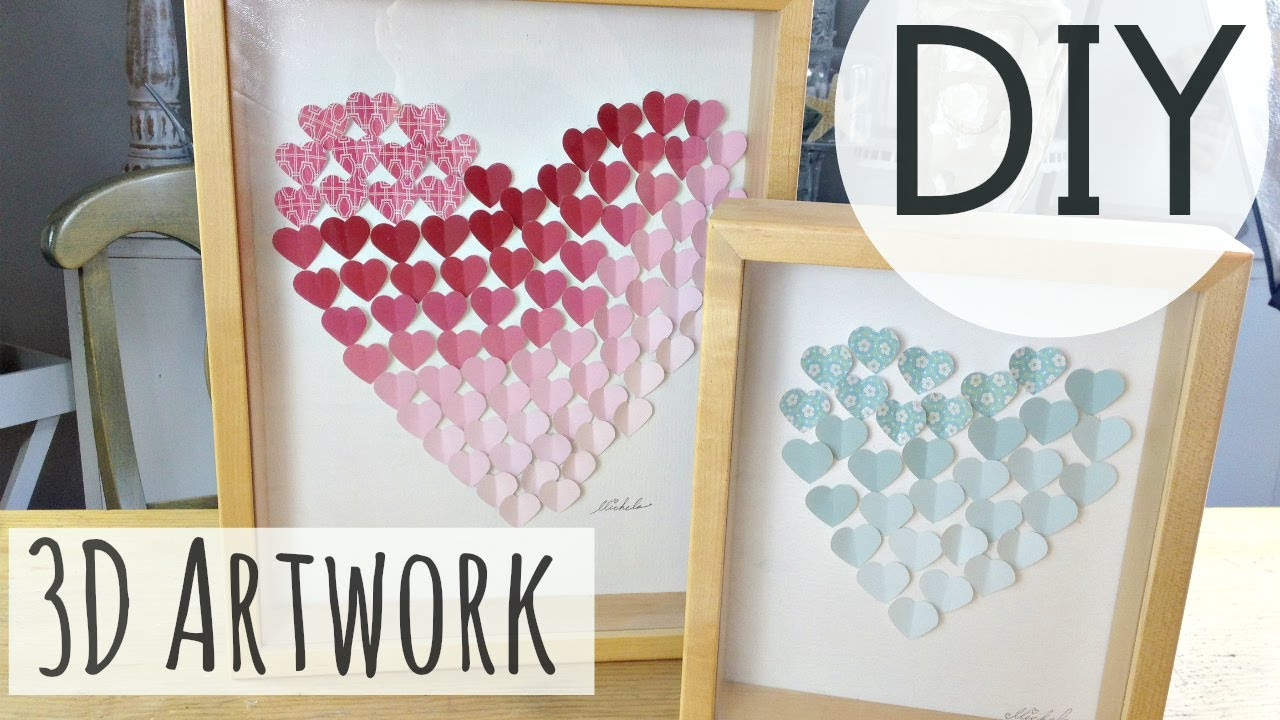 Diy room decorations 3d heart art easy diy by for Diy 3d art