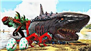 Família Red GodZilla, Ensinando os Bebês a Caçar! Dinossauros Ark Survival Evolved PT BR
